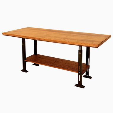 Custom Made Dt-46 Antique Reclaimed Birch Top & Metal Factory Base Table