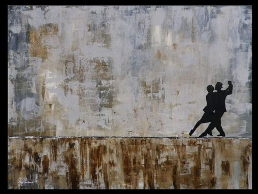Custom Made Tango Argentino Dancers - Abstract Painting Modern Art By Gino Savarino