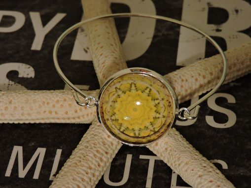 Custom Made Custom Glass Bezel Silver Plated Bangle Bracelet