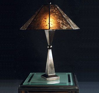 Custom Made Bronze Table Lamp, Octagonal Amber Mica Shade
