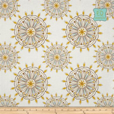 Custom Made 84l X 40w Custom Designer Draperies Riley Blake Indie Chic Medallion Geometric In Yellow