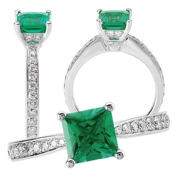 Custom Made 18k Lab-Created 6mm Princess Cut Emerald Engagement Ring With  Natural Diamonds