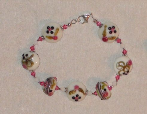 Custom Made Pink And White Bumpy Lampworked Glass Bracelet In Sterling Silver With Swarovski Crystals
