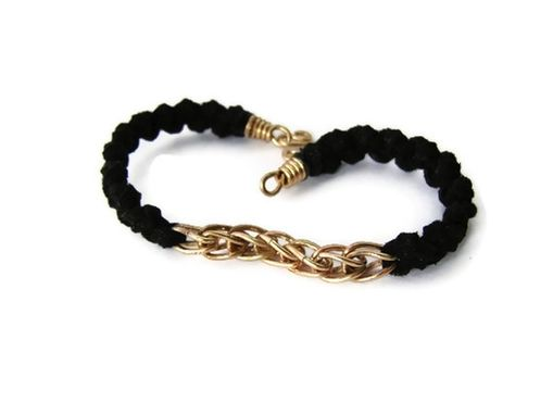 Custom Made 14k Gf And Black Leather Unisex Bracelet