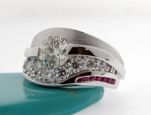 Custom Made Diamond And Ruby Fashion Ring