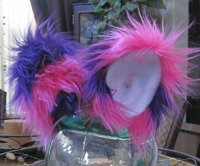 Custom Made Cheshire Cat Ears Luxury Shag Purple/Pink Faux Fur With Metal Snap Hair Clips
