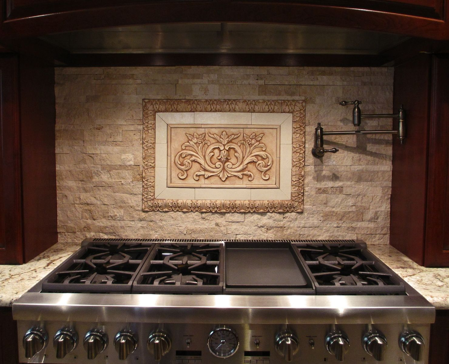 Hand crafted backsplash insert floral tile with flat strips and small acanthus liners by - Custom kitchen backsplash tiles ...