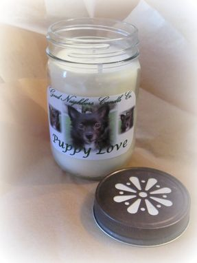 Custom Made Custom Soy Candle, 12 Ounce, Puppy Love, Your Dog's Photo, Pet Photo Candle