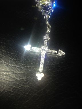 Custom Made Pure Swarovski Crystal Ab Teardop Rosary .925 Sterling Silver And Cubic Zirconia