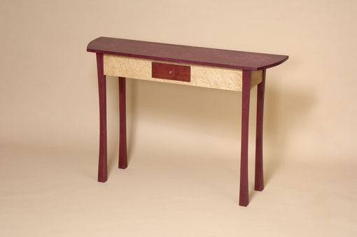 Custom Made Purpleheart And Birdseye Maple Console Table