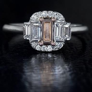 Custom Made 3 Stone Pink Gold Semi-Mount Emerald Cut Ring - Fancy Pink