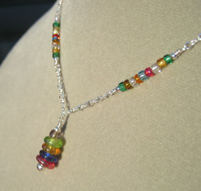 Custom Made Girls Rainbow Silver Necklace - Free Shipping