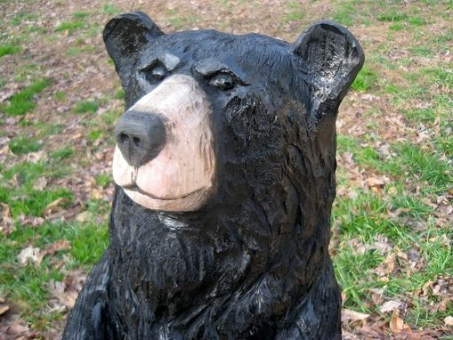 Custom Made Black Bear Chainsaw Wood Sculpture