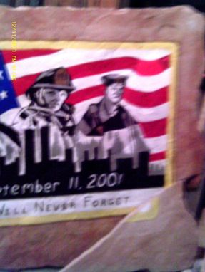 "Custom Made Memorial Stone ""3 Heroes"" A Memorial For All The Heroes Of The 9-11 Tragedy."