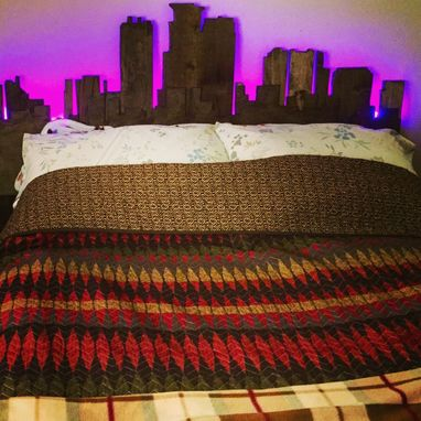Custom Made Queen Minneapolis Skyline Headboard With Lights
