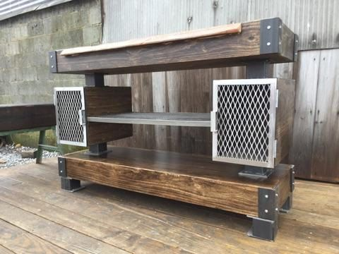 Buy A Hand Crafted Rustic Industrial Wine Bar Buffet Table
