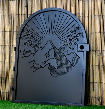 Custom Made Decorative Sunrise Steel Gate - Metal Art - Sunrise Mountain - Scenic Steel Art - Garden Gate
