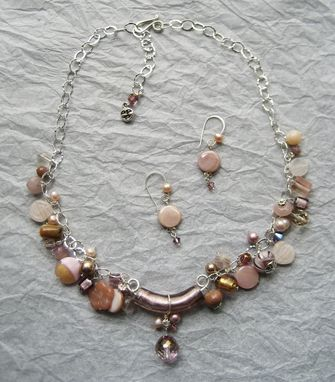 Custom Made Color Collage Necklace And Earrings Set, Soft Pink