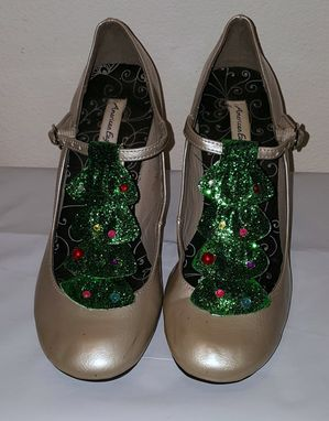 Custom Made Christmas Tree T-Strap Heels, Size 7