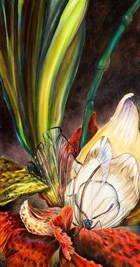 Custom Made Orchid Botanical Floral Painting Nature Art With Butterfly