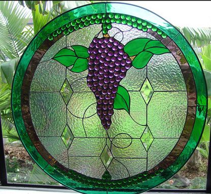 Custom Made Stained Glass Grapes And Beveled Diamonds Window