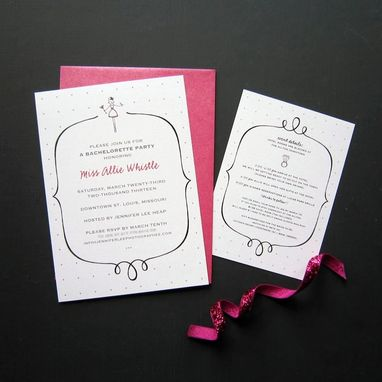 Custom Made Custom Bachelorette Party Invitations + Coordinating Info Card