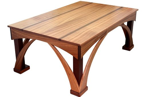 Custom Made Arched Coffe Table | Solid Sepele & Peruvian Walnut