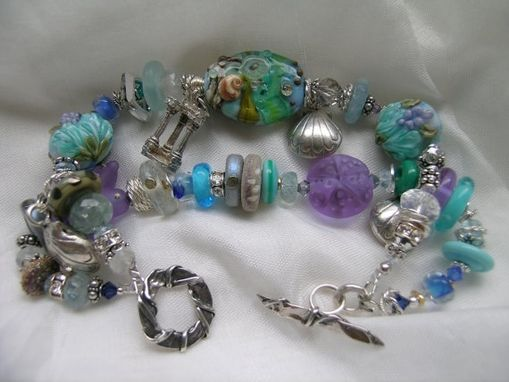 "Custom Made ""Atlantis"" Handcrafted Lampwork & Gemstone Bracelet"