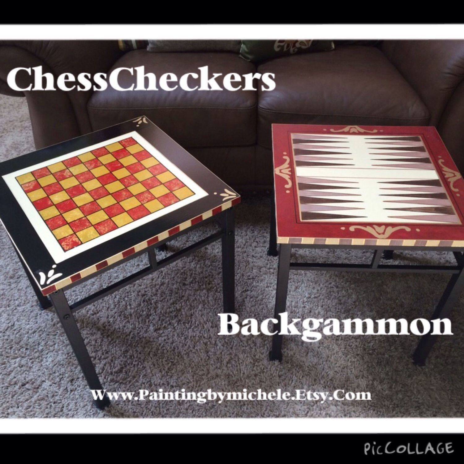 Custom Made Painted Game Table Ceckerboard Chess Backgammon
