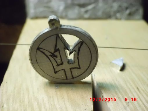 Custom Made 3/4 Inch Silver Saw-Pierced, Carved Trident, Pendant
