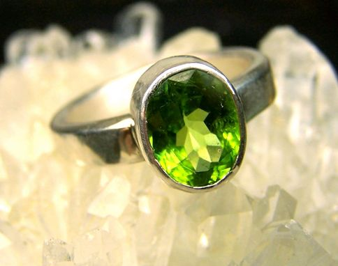 Custom Made Peridot Gemstone Sterling Silver Ring - Size 9 .25 - Sturdy Ring -