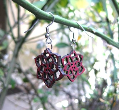 "Custom Made 1"" Red Leather Rose Earrings, Surgical Steel Fish Hook, Designed By Bsd Studios"