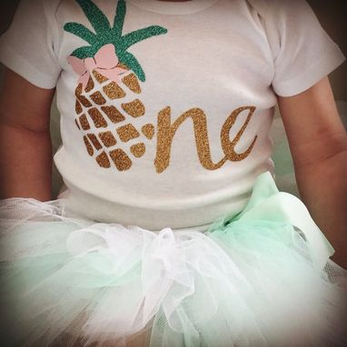 Custom Made Pineapple First Birthday Outfit | Luau 1st Birthday Outfit