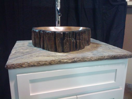 Custom Made Concrete Log Vanity Sink, With Stamped Concrete Top