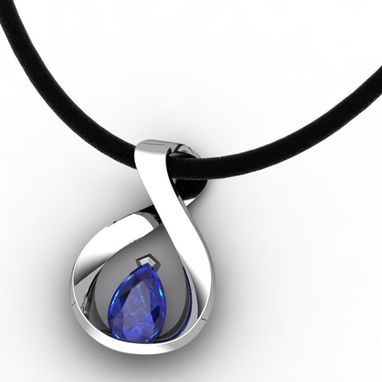 Custom Made Mobius With Sapphire Pendant