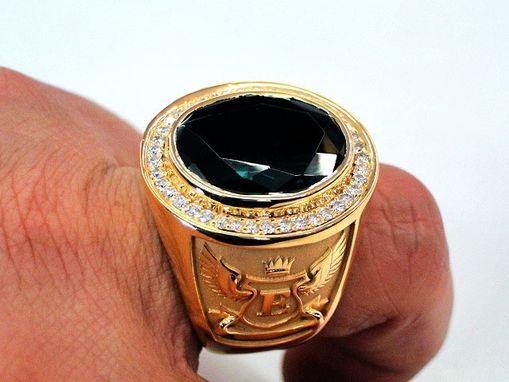 Custom Bishops Ring Green Stone Men S Signet 14k Yellow