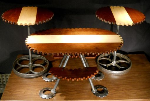 Custom Made 3pc Gear Shaped Livingroom Table Set, Vintage Industrial Style Walnut & Maple Coffee Table