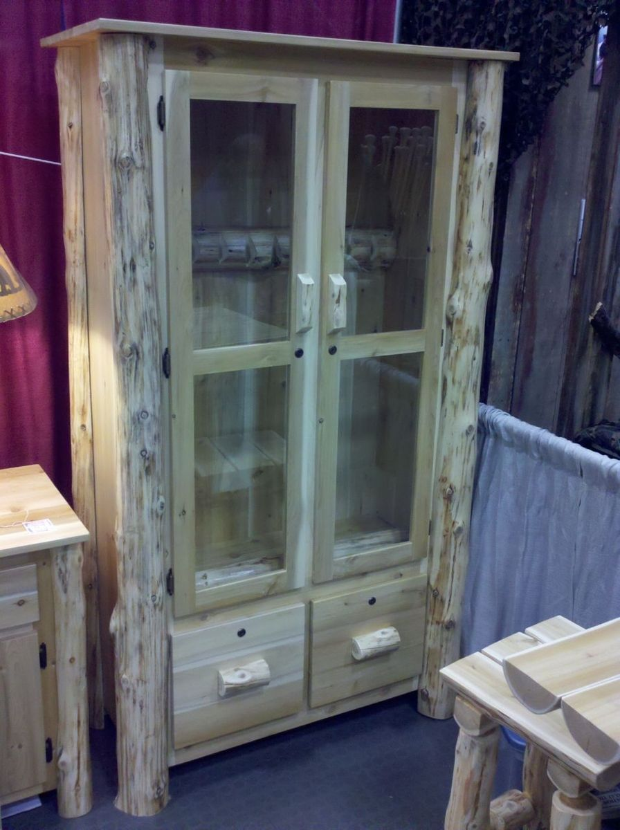 Hand made log gun cabinet by ml cross llc - Custom made cabinet ...