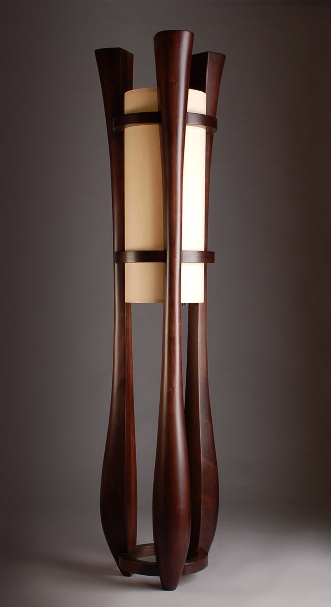 Hand Made Chronos Three Legged Walnut Floor Lamp By Kyle Dallman