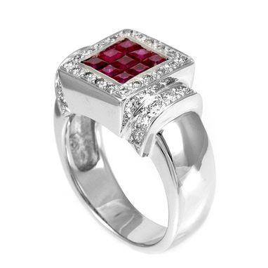 Custom Made Ruby And Diamond Ring In 14k White Gold, July Birthstone Ring, Ladies Ring