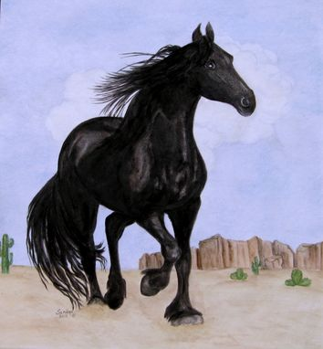 Custom Made Friesian Horse On Porcelain Tile