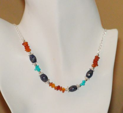 Custom Made Sodalite, Sleeping Beauty Turquoise And Amber Chips Necklace