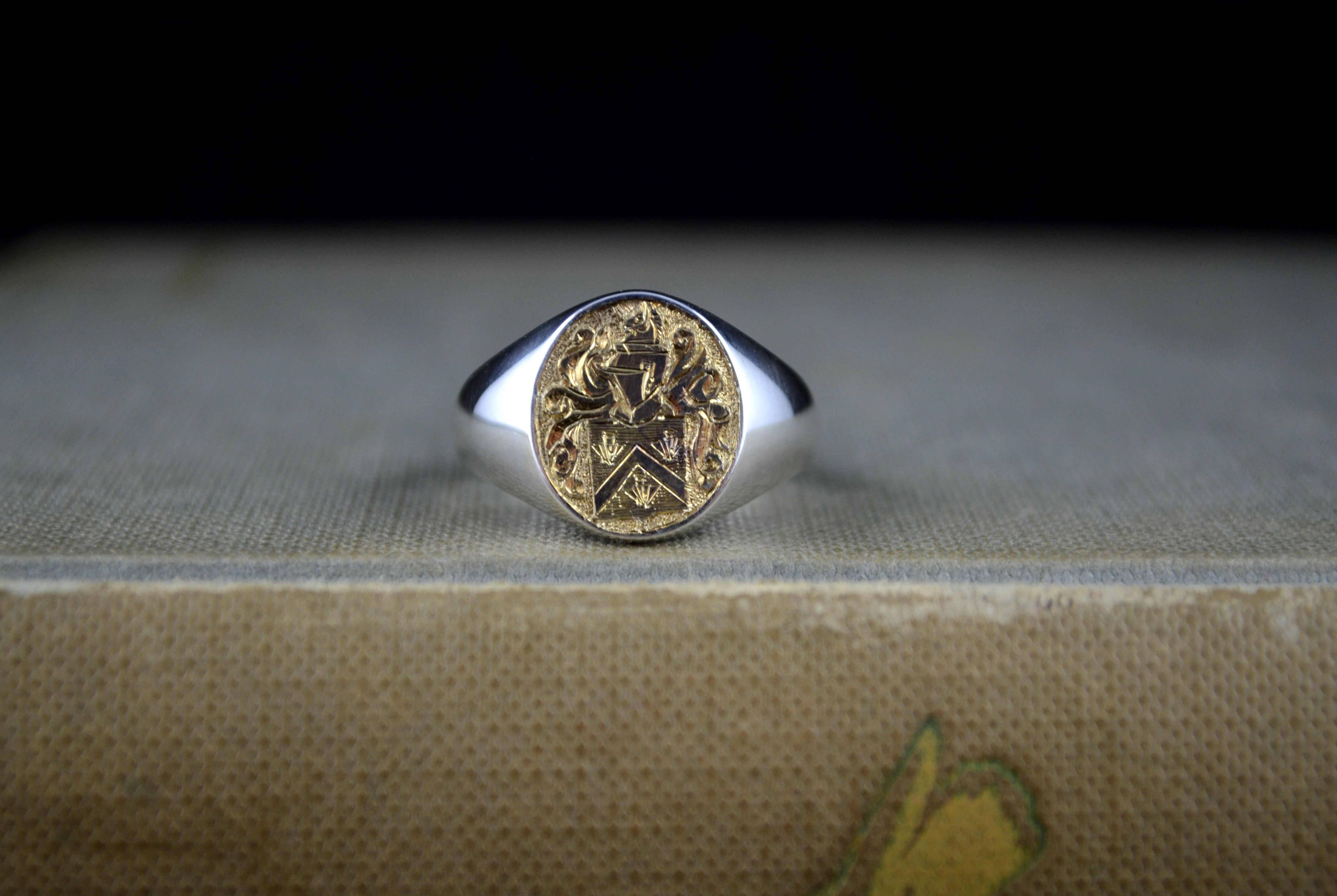 f01e09c877d30 14k Gold And Sterling Silver Mens Signet Ring