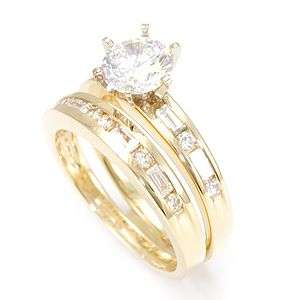 Custom Made Round And Baguette Diamond Ring And Matching Band In 14k Yellow Gold, Wedding Set