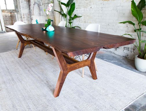 Hand Made Claro Walnut Copper Live Edge Midcentury Modern Dining Table The April Live Edge By Moderncre8ve Custommade Com
