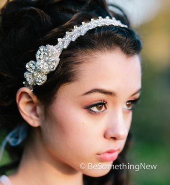 Custom Made Rhinestone Tie Bridal Headband, Wedding Hair, Head Piece