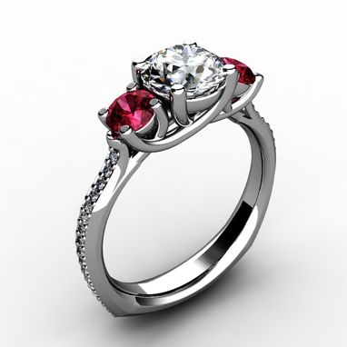 Custom Made Three Stone Round Diamond Center And Ruby/ Sapphire Ring With Side Diamond Accents
