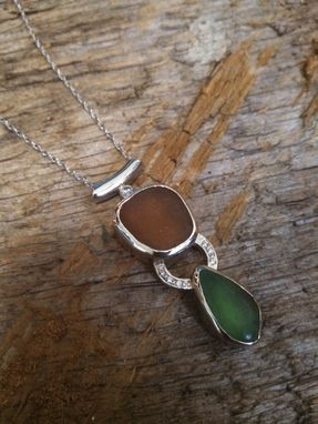 Custom Made 14k White Gold Sea Glass And Diamond Pendant