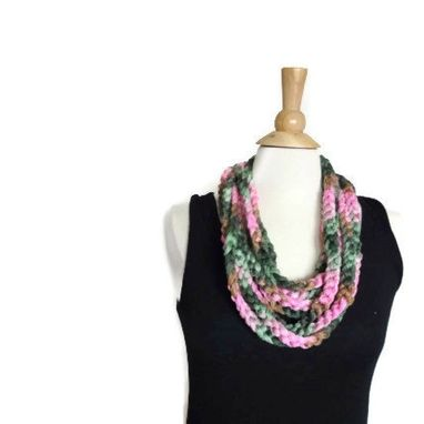 Custom Made Lightweight Cowl Necklace Infinity Scarf Light Pink And Spring Green