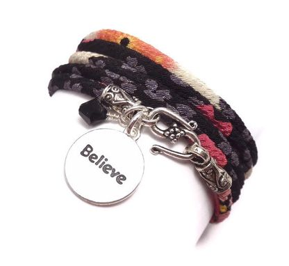 Custom Made Japanese Chirimen Cord Wrap Bracelet With Believe-Inspire Charm